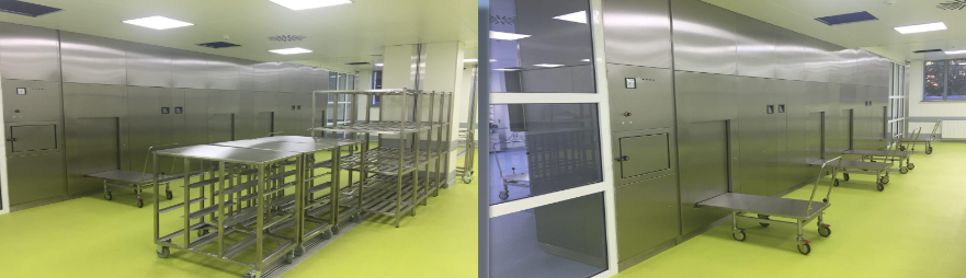 После выгрузки из автоклава инструменты проходят на стерильную зону и передают в склад стерильных материалов. Каждая зона имеет гардеробную, санузлы, уборные комнаты